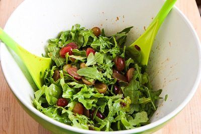 Arugula, Red Grape, and Manchego Holiday Salad [KalynsKitchen.com]