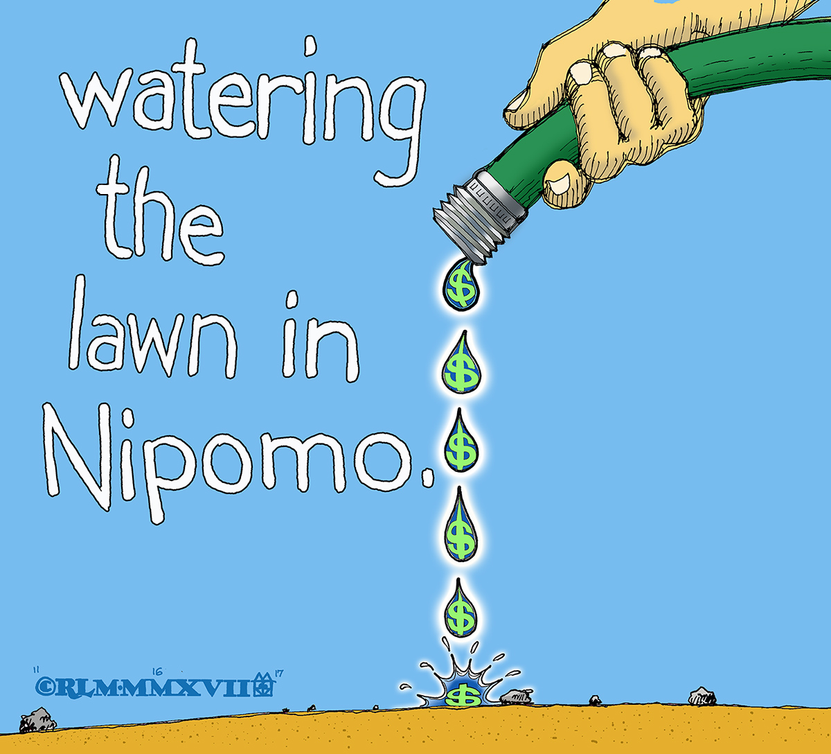 WATERING THE LAWN IN  NIPOMO