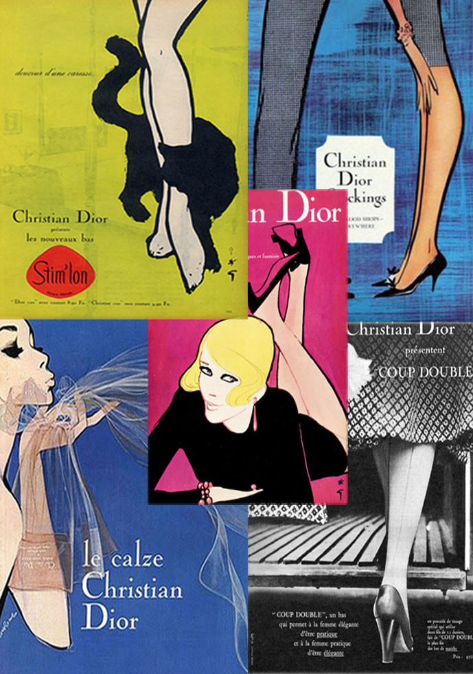 Christian Dior stockings - vintage campaigns 1950-1960s