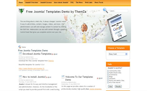 Free Orange Business Joomla Theme Template