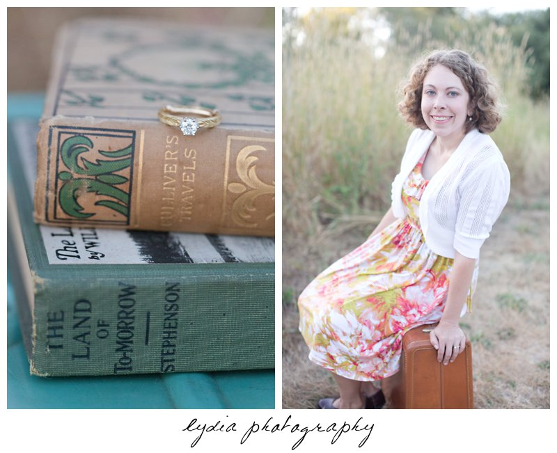 Bride's ring on a book at lifestyle engagement portraits in the Bay Area of California