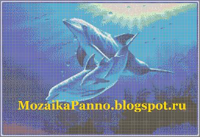 Мозаичная картина «Дельфины»