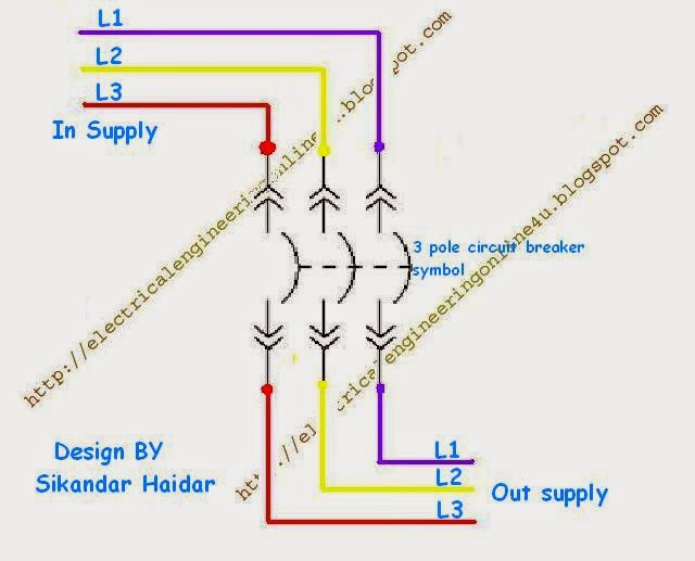 how to wire 3 pole circuit breaker wiring method of three pole circuit breaker symbol