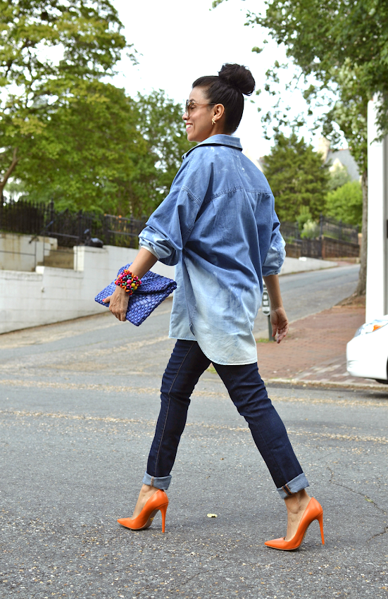 TIE DYED DENIM SHIRT OUTFIT