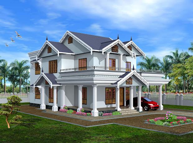 Green Homes Modern Style 2 Storyed Kerala Home-2450 Sq.feet