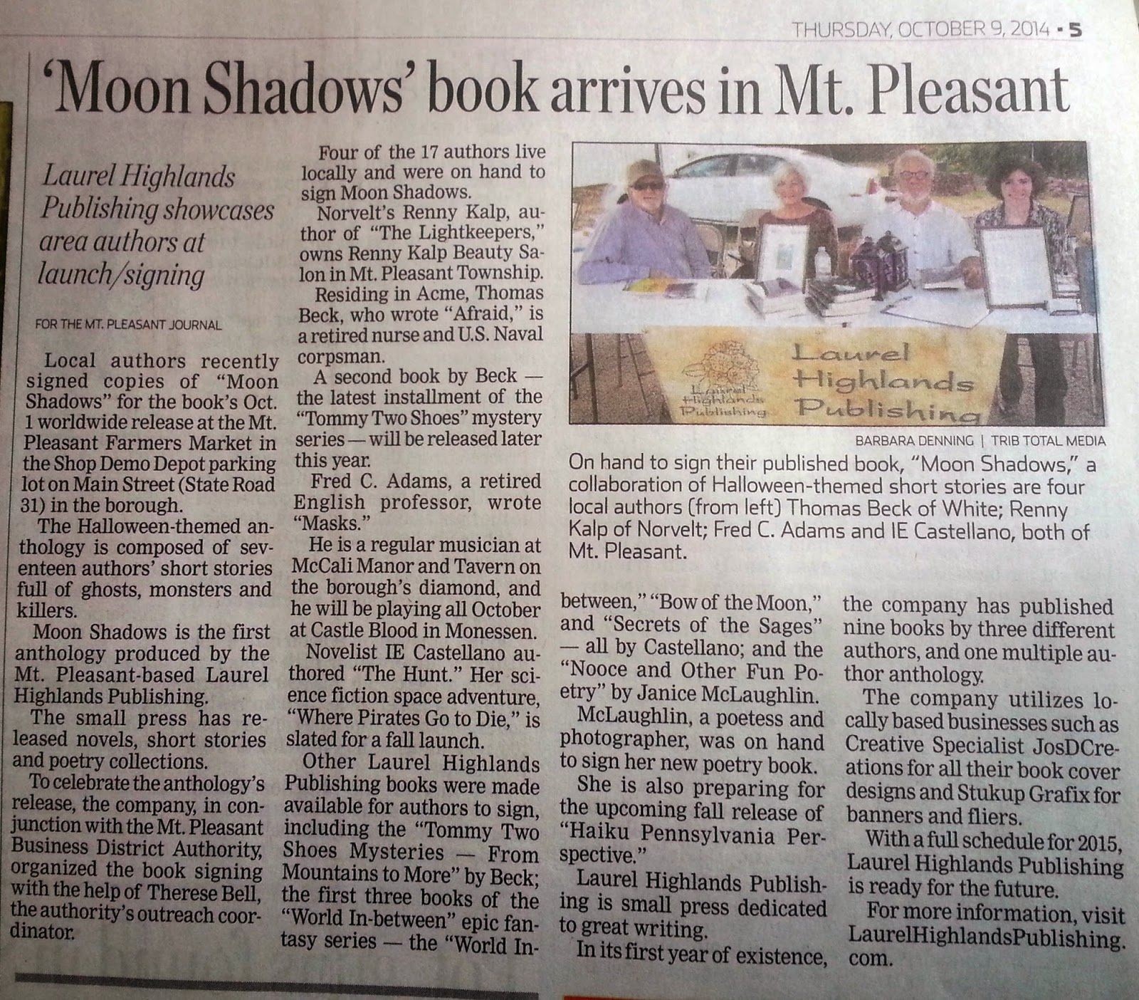 Moon Shadows Book Signing New Clipping