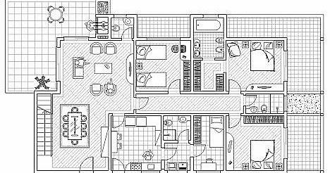 Plan d 39 une maison individuelle 3 fichier autocad for Plan villa style americain gratuit