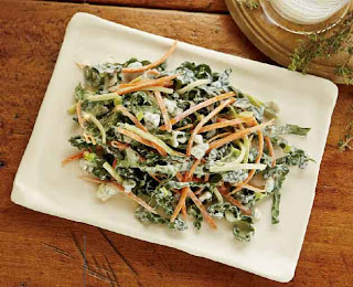 Kale and Broccoli Coleslaw With Blue Cheese Dressing