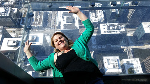 Kimberly on the ledge at Skydeck Chicago