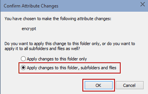 apply encryption changes to related windows 10 folders