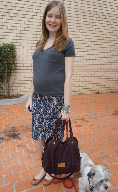 second trimester baby bump work appropriate grey tee lace pencil skirt