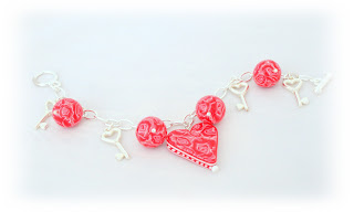 Red Rose Charm Bracelet handmade from polymer clay Valentine Gifts & Jewellery