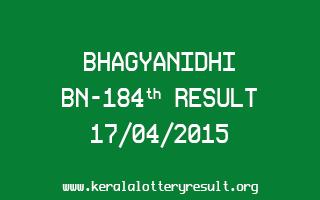 BHAGYANIDHI BN 184 Lottery Result 17-4-2015