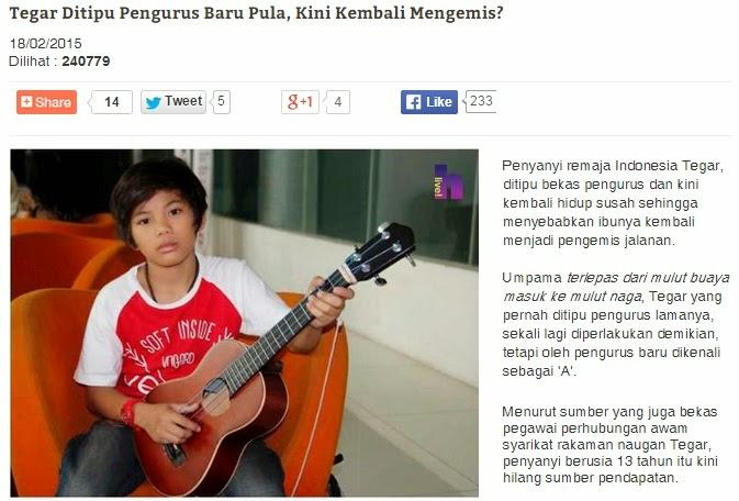 Hiburan Penyanyi Cilik Terkenal Indonesia TEGAR Dikatakan Mengemis Semula