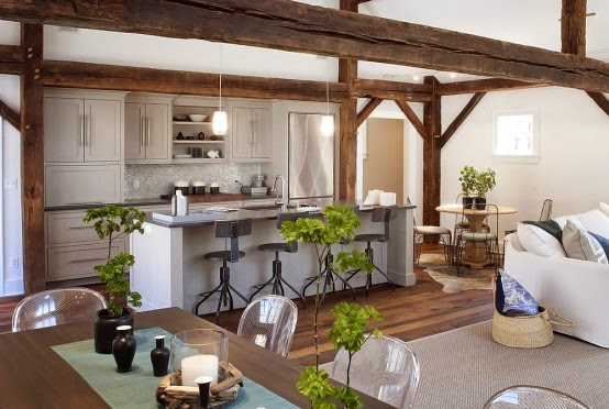 elegant classical rustic kitchen decoration ideas with wooden beams and stylish white kitchen sets