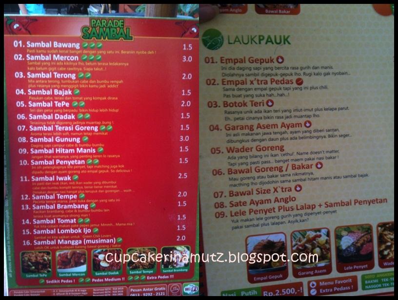 Kuliner jogja pondok cabe rina chabbymutz for Z kitchen jogja menu