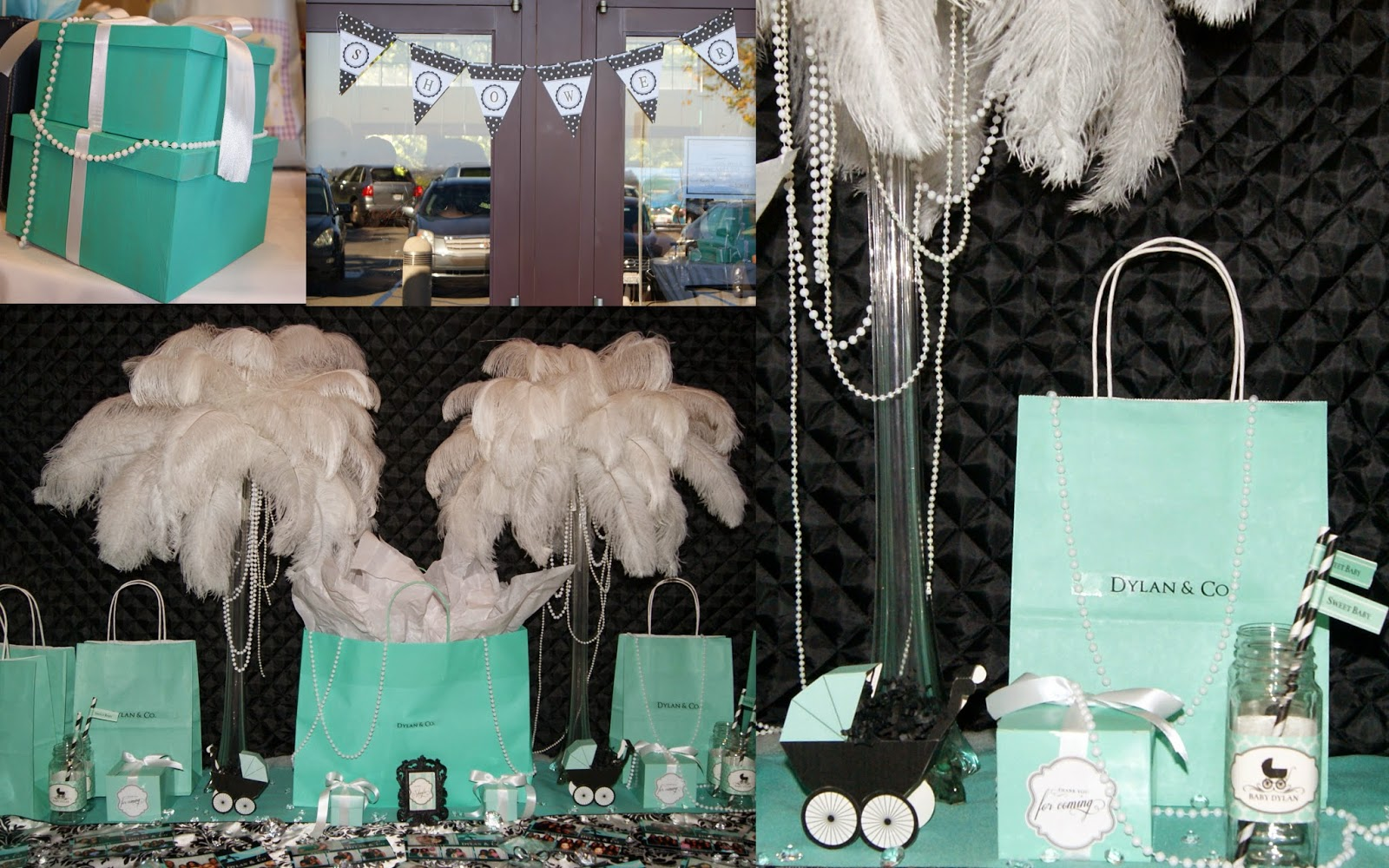 breakfast at tiffany's theme, feather centerpieces, ostrich feathers, tiffany bags, party inspiration, allthingsslim