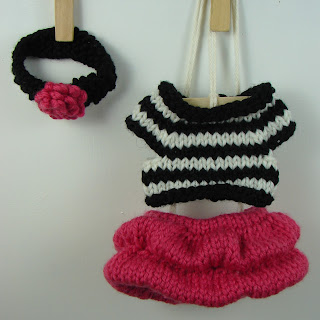hot pink bubble skirt black and white striped shirt crochet flower headband