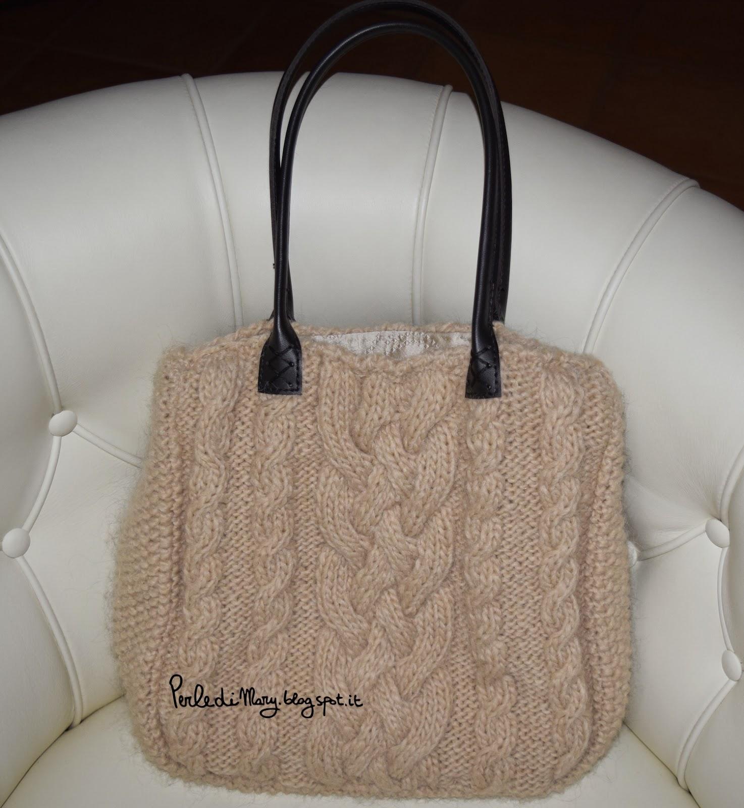 Borse Fatte A Mano Ai Ferri : Perle di mary carmen borsa lana a trecce