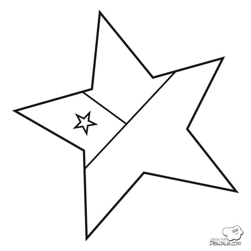 Bandera chilena en forma de estrella para colorear | Dibujos para ...