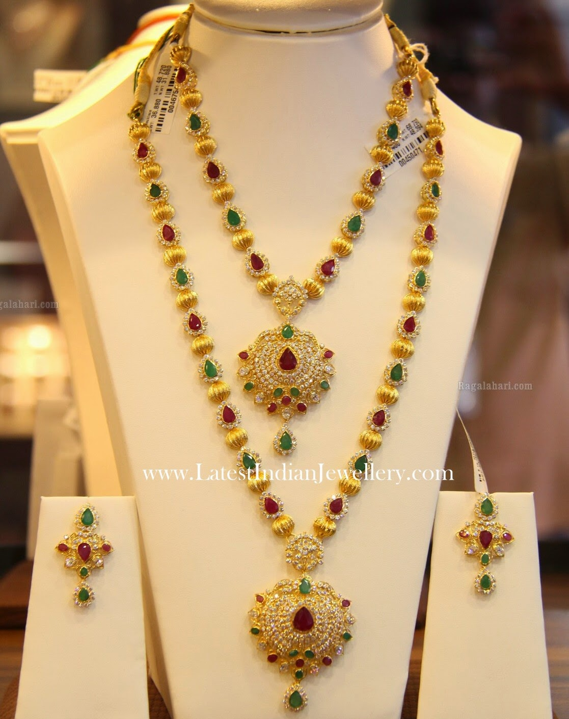 CZ Gold Balls Haram Necklace Set