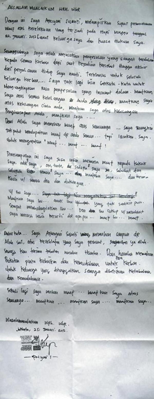 Surat Permohonan Maaf Afriyani Susanti