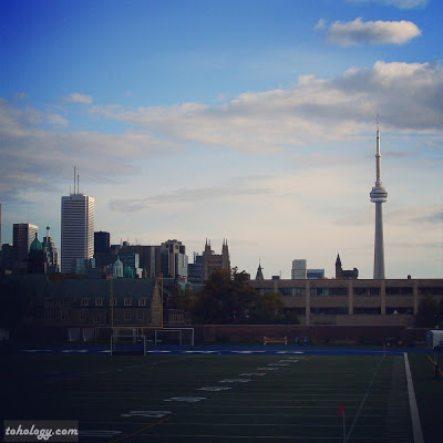 View to the CN Tower in Toronto