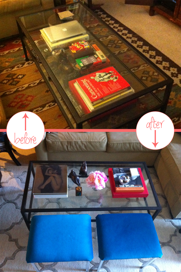 Coffee table before and after, before and after, coffee table style, coffee table styling, coffee table design, coffee table vignette, bench seats, velvet bench seats, turquoise bench seats, coffee table books, pink flowers, pink peonies, fat yoga, made her look, madeherlook, madeherlook.blogspot.com, madeherlook.net