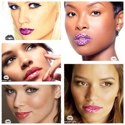 Modelos adesivos para os lábios