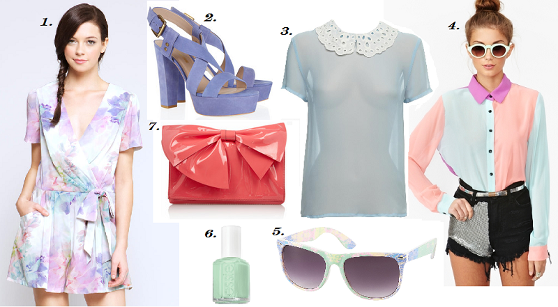 pastel trend, sugary colours, Whitney Eve, Shoes, Collage, Spring/Summer 2012, Valentino, Nasty Gal, Topshop, Essie