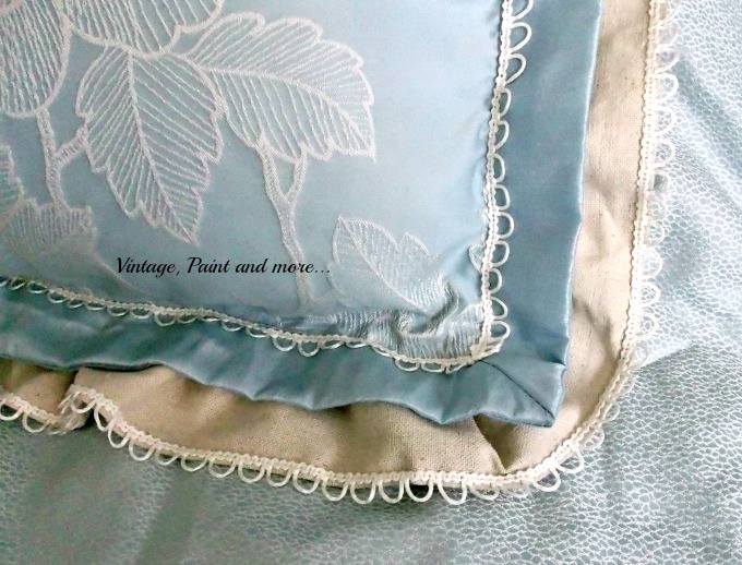 Updated Master Bed - drop cloth ruffle added to pillow sham