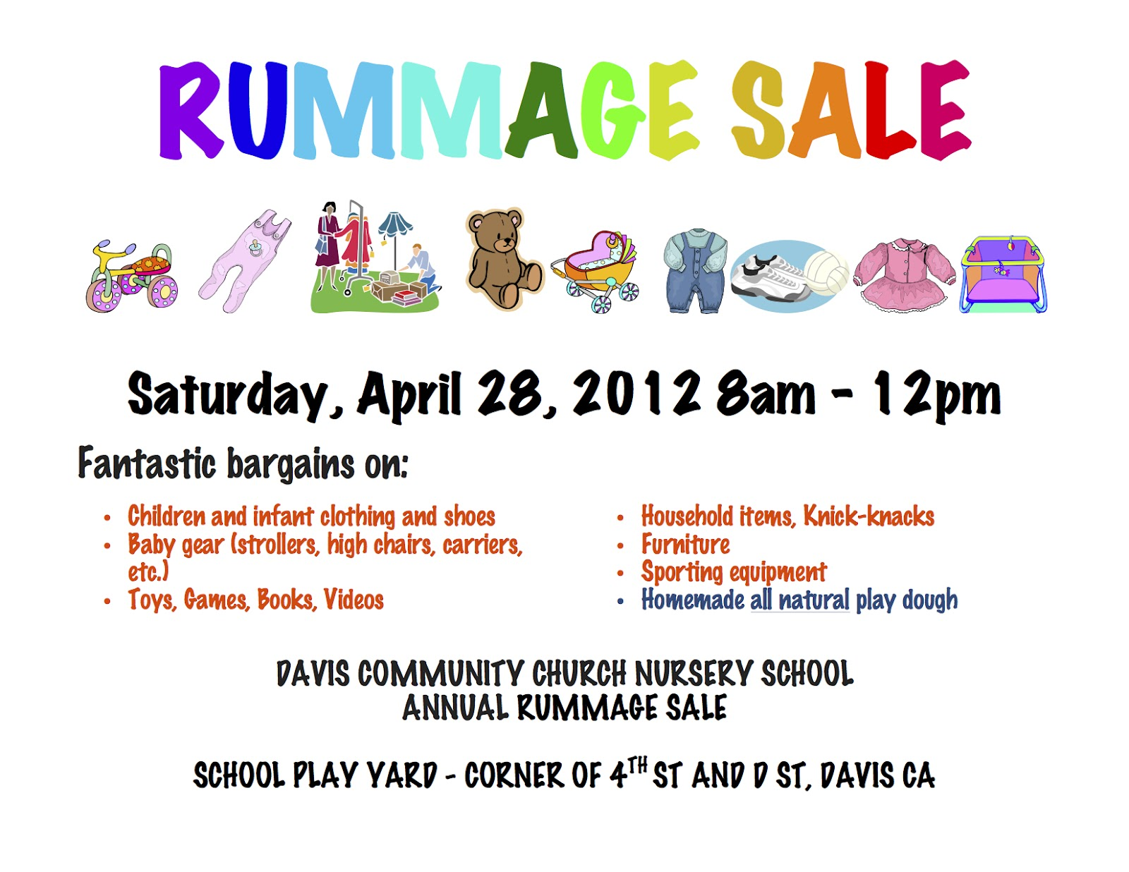 Rummage Sale Flyers http://daviscalifornia.blogspot.com/2012/04/davis-community-church-nursery-school.html#!