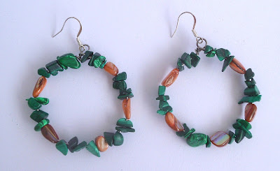 Handmade Malachite and Shell Hoop Earrings