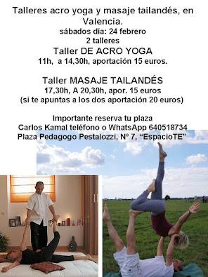 Talleres de acro yoga y masaje tailandés, en Valencia, 24 febrero