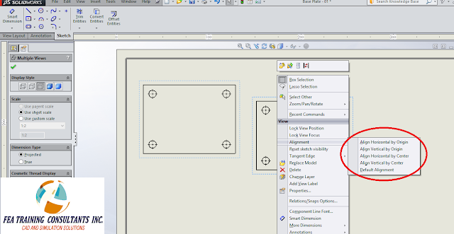 drawing alignment solidworks