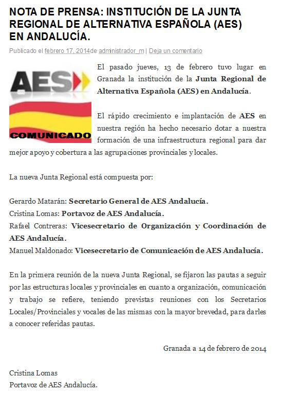 Instituci n de la junta regional de alternativa espa ola aes en andaluc a aes distribuci n - Pisos de la junta de andalucia ...