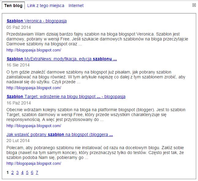 Wyszukiwanie na blogu blogspot