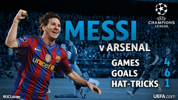 Lionel Messi costuma se dar bem contra o Arsenal
