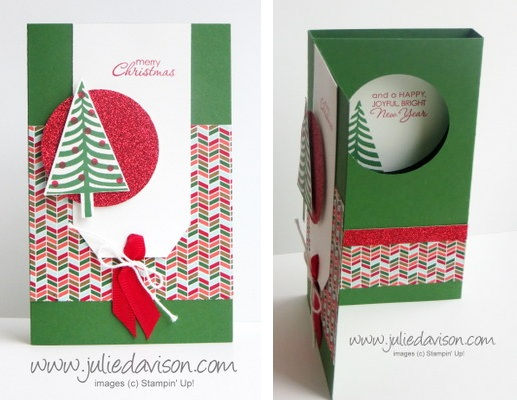 Stampin' Up! Festival of Trees Surprise Pop-Up Diorama Card Tutorial + GIVEAWAY #stampinup www.juliedavison.com