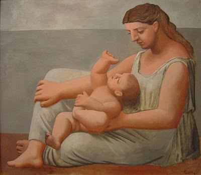 Mujer e hijo a orillas del mar de Picasso