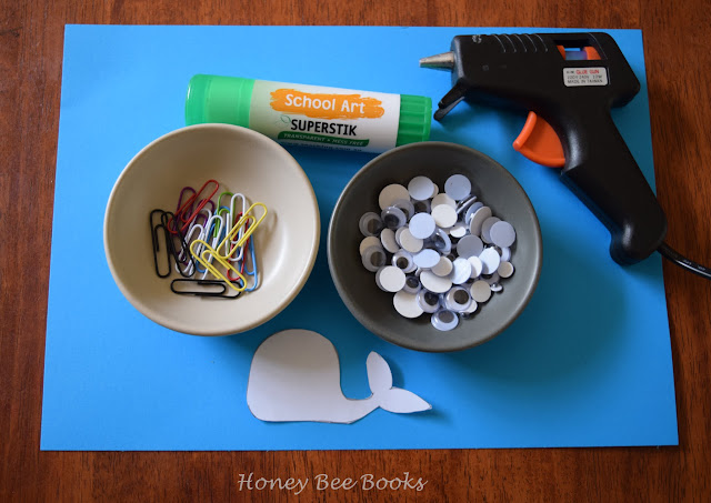 All that you will need to make your own adorable whale paper clip bookmark