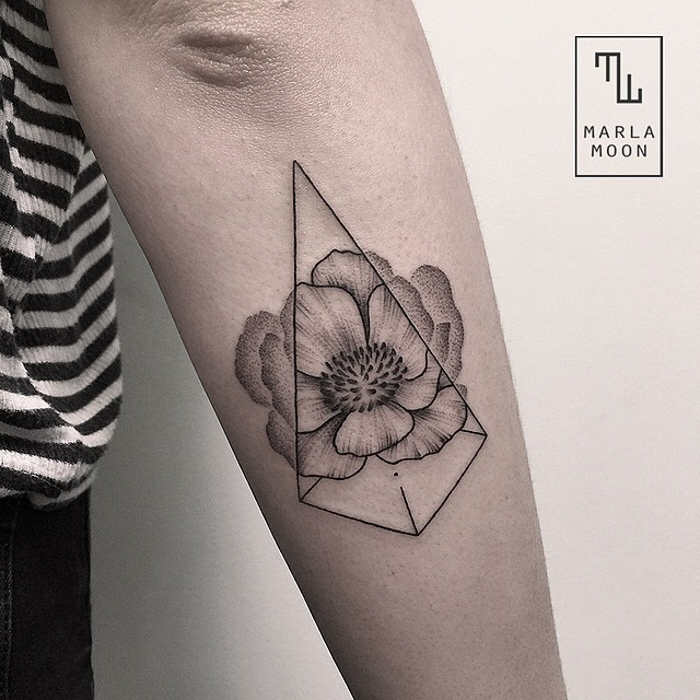 geometric flower tattoo color - photo #38