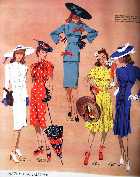 color fashion woman 1940s