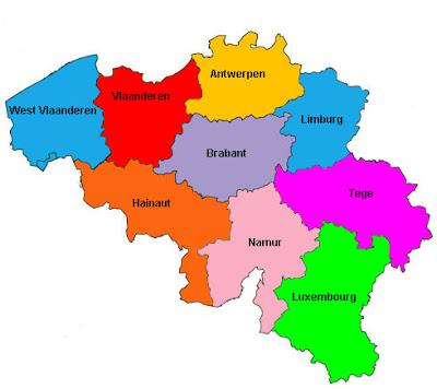 Mappa del Belgio Politico