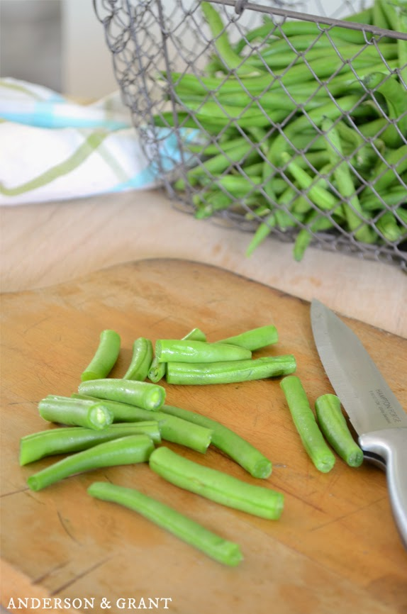Chopping up fresh green beans for green bean casserole | www.andersonandgrant.com