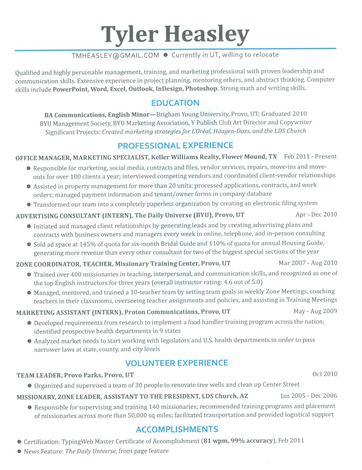 Lds Missionary Resume Examples