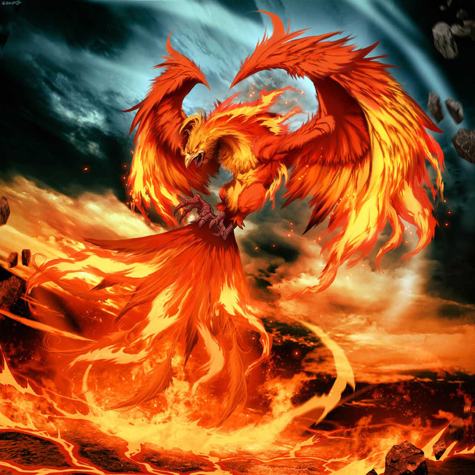Precioso Ave Fénix resurgiendo del fuego - Imagenes y Carteles