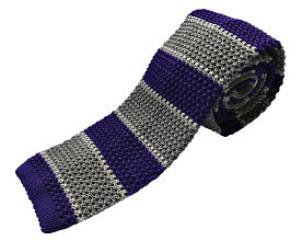 Nick Bronson Stripe Knitted Ties - GS5 Viola/Stagno