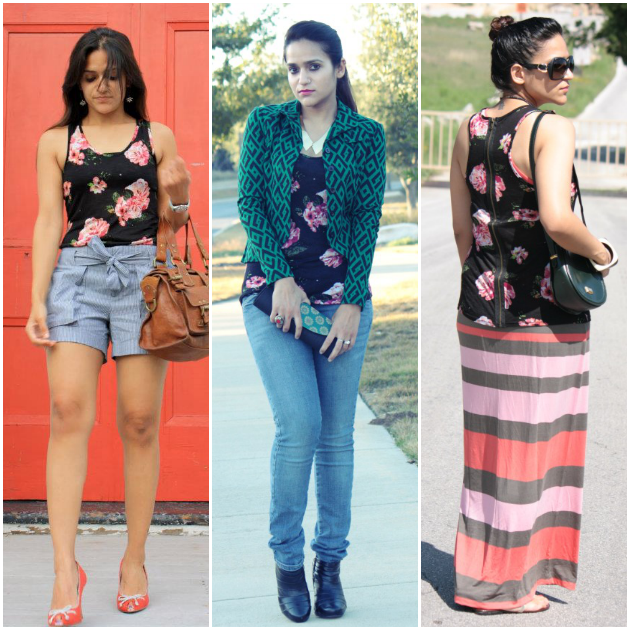 Three Ways To Style A Floral Tank, Tanvii.com