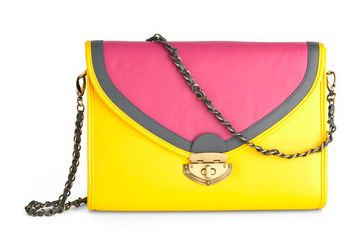 colorblock neon handbag